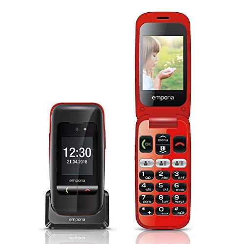 Emporia ONE V200_001 Einfach zu bedienendes Klappenhandy mit 2MP Kamera, Schwarz/Rot
