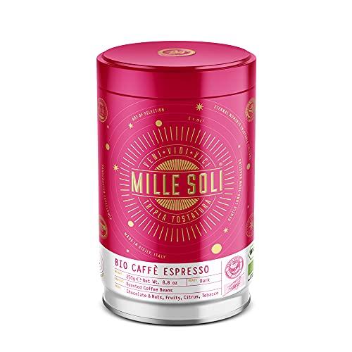 MilleSoli Bio Espresso Bohnen 250g Dose - Traditionelle Dreifachröstung In Handarbeit - Premium BIO Kaffeebohnen für Vollautomat und Siebträger