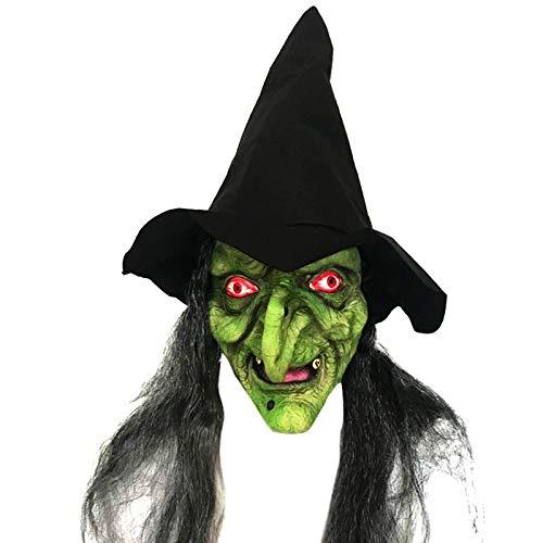 Fablcrew Horror Hexenmaske mit Haar und Hut aus Latex für Erwachsene und Kinder Haus Hanted Dressing Kostüm Halloween Masquerade Party Cosplay Props