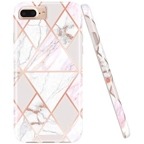 Jaholan - Carcasa para iPhone 7 Plus, 8 Plus, 6 Plus, 6S Plus, diseño de mármol de Oro Rosa