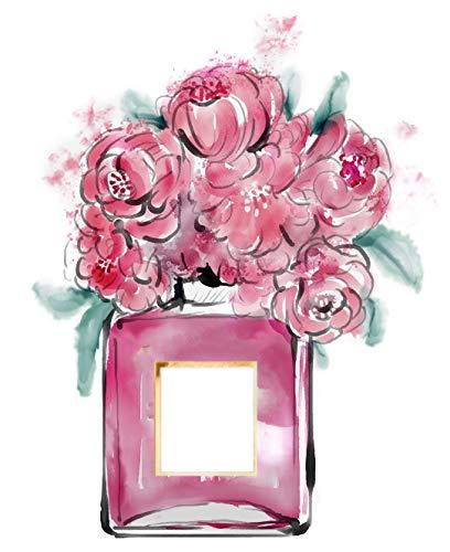 4Good Epictures Din A3 Coco Chanel No. 5 Parfümflasche mit Blumen Handgemalt Wandbild für Wohnzimmer   Bild fürs Schlafzimmer oder den Flur NWBE4