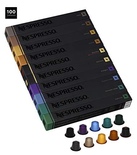Nespresso Variety Pack OriginalLine Capsules, 100 Count Espresso Pods, 10 Assorted Medium Roast Coffee Flavors