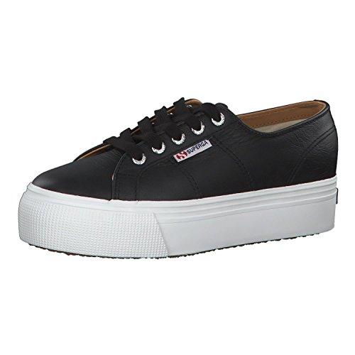 Superga Damen 2790-NAPPALEAW Sneaker, Schwarz (Black-White C39), 39.5 EU