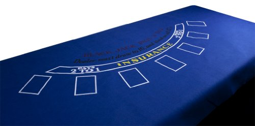 72 X 36 Inch Blue Felt Blackjack Table Layout - Includes Bonus Deck of Cards!