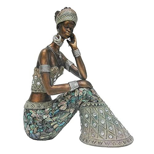 Figura de Africana Envejecida de Resina Dorada y Azul de 15x7x19 cm - LOLAhome