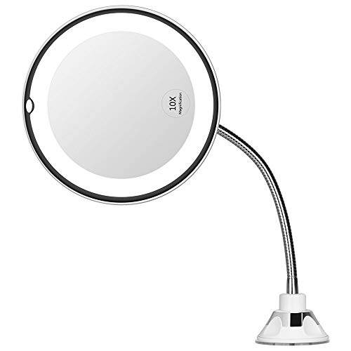 Orange Tech 10x Flexible Mirror as seen on TV ,Magnifying Makeup Mirror Gooseneck 6.8' LED Lighted Mirror , Suction Cup Mirror for Bathroom,Travel Mirror with 360 Degree Swivel, Battery Operated