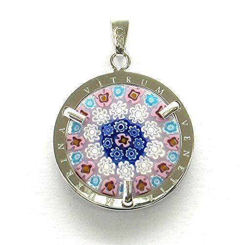 Colgante para mujer de cristal de Murano, plata 925, diámetro de 24 mm, fabricado totalmente a mano en Murano – Venecia 1