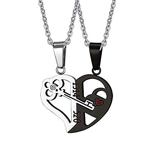 niuziyanfa Co.,ltd Romantic Couples Heart Key Crystal Pendant Her & His Love Necklace Set Lover Valentine Stainless Steel 24 Chain