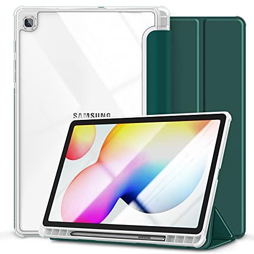 Kdely Funda para Samsung Galaxy Tab S6 Lite 10.4' Ultra Delgada Case Cover Protección con Soporte Incorporado de Pencil, Carcasa con Función de Auto-Sueño/Estela-Verde Claro