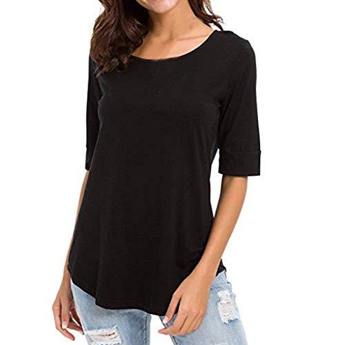 LOPILY Basic Damen Oberteile 1/2 Arm Rundhals Shirts Sommer Herbst Lässige Casual Tops Einfarbige Innen Oberteile Damen Elegant Sexy T-Shirt Minimalistische Tops (Schwarz, Gr.42)