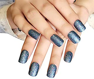 JINDIN 24 Sheet Short Glitter Fake Nails for Women and Girls Press On Nails Square False Nail Art Tips Full Cover with Design