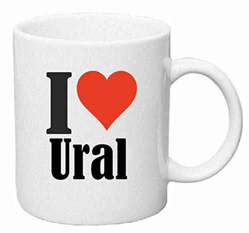 Reifen-Markt Kaffeetasse I Love Ural Keramik Höhe 9,5cm ⌀ 8cm in Weiß