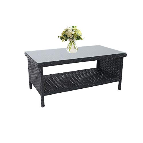 Outdoor PE Wicker Coffee Table - Patio Rattan Garden Side End Tea Table with Glass Top Furniture, Black