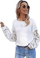 DIDK Damen Bluse mit Spitzenarm Casual Oberteile Langarmshirt Sweatshirt Pulli Rundhals Shirts