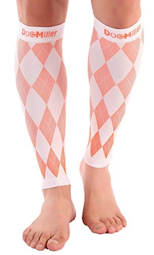 Doc Miller Premium Calf Compression Sleeve 1 Pair 20-30mmHg Graduated Support for Sports Running Circulation Recovery Shin Splints Varicose Veins (White.Orange, XL)