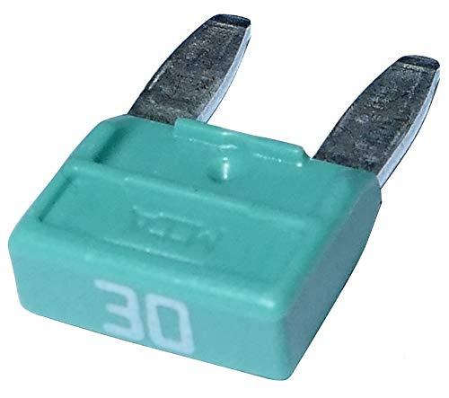 AERZETIX - C10283-10 x Sicherungen - 30A - Grün - 11.9mm - 6V 12V 24V 36V