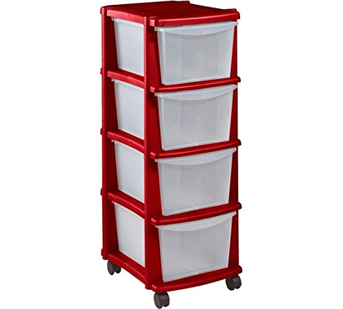 High Quality Keter 4 Drawer Plastic Tower Storage Unit - Red. by ChoicefullBargain