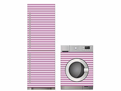 Oedim Pack Vinilo para Frigorífico + Vinilo para Lavadora Rayas Rosa, Adhesivo Resistente y Económico, Pegatina Adhesiva Decorativa de Diseño Elegante