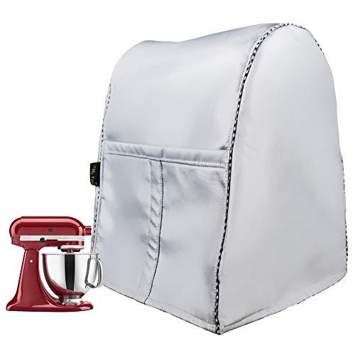 Funda de mezcla/cocina a prueba de polvo con bolsa organizadora, cubierta protectora para exprimidor, cafetera, cubierta antipolvo para procesador de alimentos (plata)