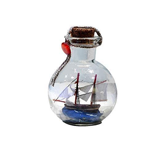 Decoración de botella de deriva, barco de vela en botella de corcho de cristal, barco pirata en una botella, kit de artesanía, decoración náutica para el hogar, regalos, manualidades