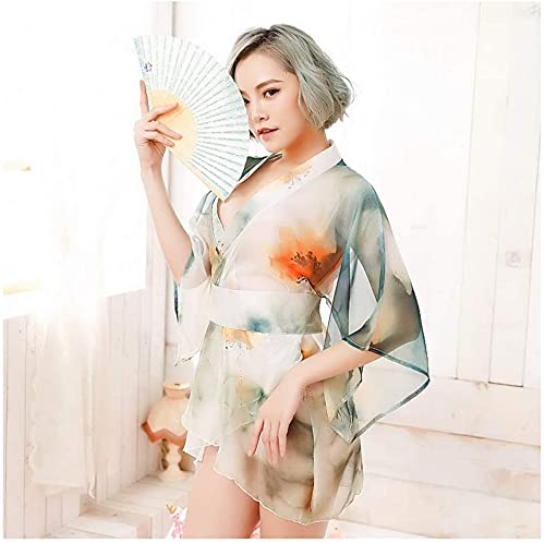 ZT Perspectiva Estampada de Estilo japonés Sexy Kimono, Profunda V Tentación de Corte bajo Lencería Sexy Lencería Pijamas Nightdress Thong Traje, Jugando a Las Damas Uniforme, Talla única