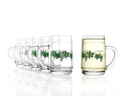 Stölzle Oberglas Weinkanne 0,25 l mit Weinlaub Dekor- traditionelles Spritzerglas, Heuriger, Weinschenke, 6 Stück, spülmaschinenfest, hochwertige Qualität