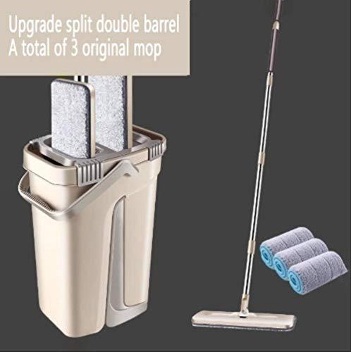 Platte dweil en emmers set, roestvrij stalen paal en met emmer, wassen en drogen dweilsysteem en 3 pads Medium Beige