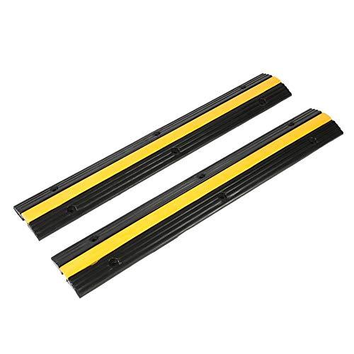 DAUERHAFT 2 Stück Speed Bumps, Hochleistungs-Gummikabelschutz, gelbe Ziele mit hoher Sichtbarkeit Speed Bumps, für das Parken in der Garage, für SUV-LKW-RV-Gabel