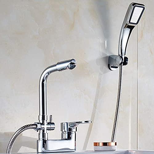 Sola manija Doble Agujero de Agua-Tap Todo Bronce VAE Cuerpo frío Calor Lavabo grifos de baño de Lavado Su Cuenca del Contador Cara con Ducha + Ducha Grifo (Size : Faucet+Shower)