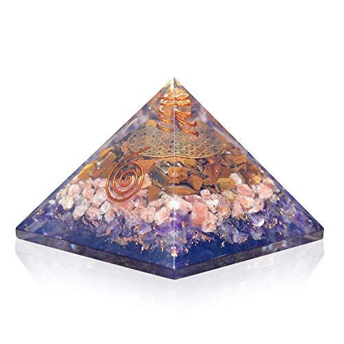 Orgonite Crystal Ultimate Triple Weight Loss Pyramid with Tiger Eye, Sunstone and Amethyst Healing Crystals –Boost Your Metabolism and Inner Strength for Weight Management
