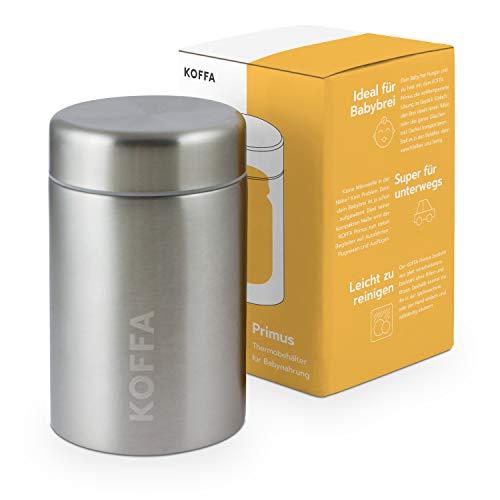 KOFFA® Primus |Thermobehälter für Babybrei & Gläschen |500ml | Edelstahl Thermobecher für unterwegs | Auslaufsicher und BPA-frei