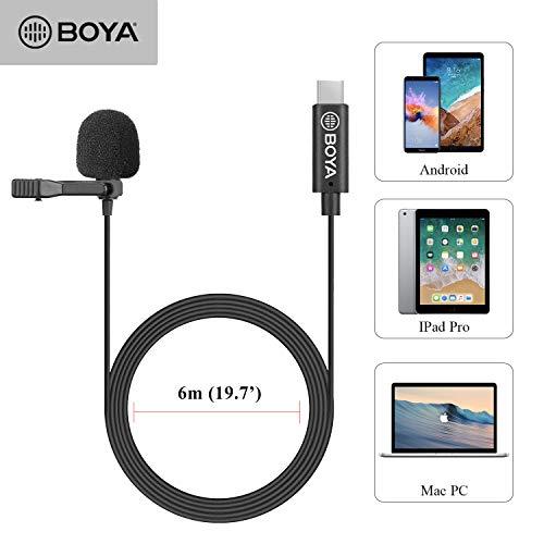 BOYA BY-M3 Omnidirektionales Lavalier-Aufsteckmikrofon für USB-C-Android-Smartphones (236 Zoll Kabellänge)