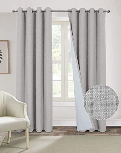 Always4u Design - Cortina opaca térmica para salón moderna, con ojales aislantes, para cocina, dormitorio infantil, curtain liso, 137 cm x 213 cm, color plateado