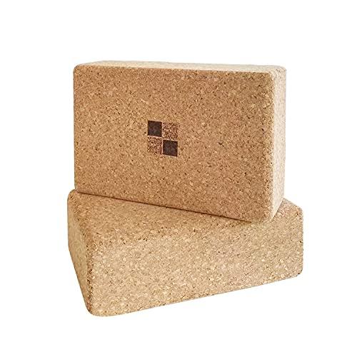 XIN YIN - Bloque Yoga Corcho 2PC, Yoga Block Cork para Pilates y Ejercicios de Yoga,Fabricación Ecológica,Tacos Yoga,22.3x14.3x7,2cm,369IN