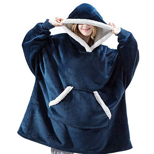 IvyH Übergroße Hoodie Decke Sweatshirt, SuperWeiche Warme Riesen Hoodie Fronttasche Giant Plüsch Pullover Decke mit Kapuze Einheitsgröße für Männer Frauen Mädchen Jungen Unisex(Blau)