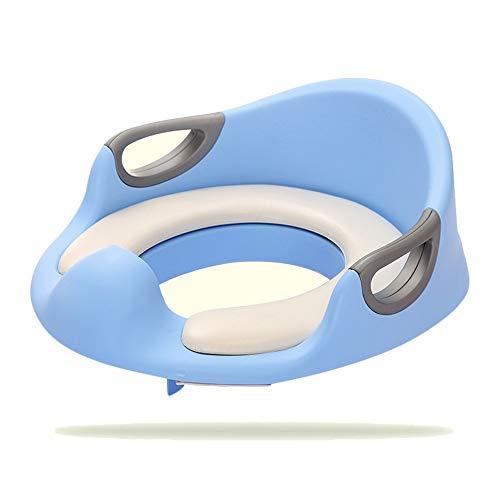 Ryyland-Baby Products Toilettes pour Enfants Potty Seat Kids Siège de Formation de Toilette Coussin Moelleux avec poignée et Dossier Toilette (Couleur : Bleu, Taille : 34 * 33 * 12.5cm)