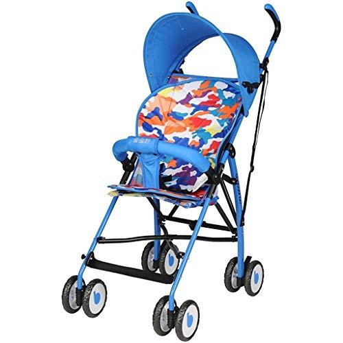 ZJJ Kinderwagen Buggy Kinderwagen, Babyauto, leichte Faltbare Kinderwagen Stoßdämpfer abnehmbare waschbare Kindersitz Kinderwagen Reisen Standard Kinderwagen (Color : Blue)