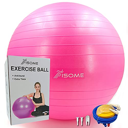 ISOME Exercise Ball (65cm)-Extra Thick Yoga Ball (2mm)-Anti Burst Tested Supports-Heavy Duty Stability Ball (2200lbs)-Includes Hand Pump-Fitness,Workout,Gym (Pink)