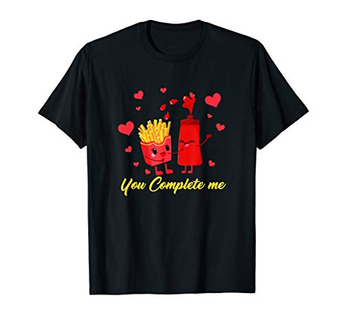 French Fries Ketchup Shirt Valentine Couple Food Complete T-Shirt