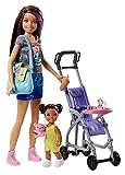 OTTO Coffret Poupee Skipper + Mini Poupee Enfant Fille + Poussette + Accessoires - Babysitter pour Barbie