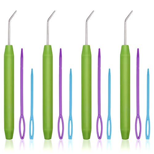 Jdesun 4 Pieces Knitting Loom Hook Crochet Hook and 8 Pieces Large Eye Plastic Sewing Needles for Knifty Knitter