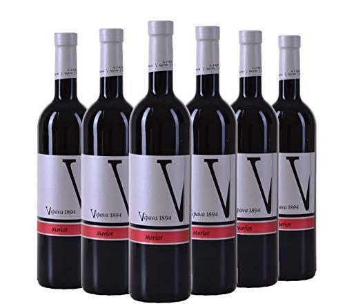 VIPAVA 1894 Rotwein Merlot 2016, von Hand gelesener trockener roter Wein (6 x 0,75 l)