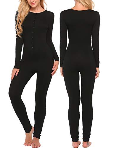 Ekouaer Bandage One Piece Pajama Romper Long Sleeve Jumpsuit Sleepwear For Women,Black,Small