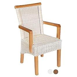 Chaise de salle à manger avec accoudoirs en rotin blanc ou marron Perth avec ou sans coussin de siège Blanc