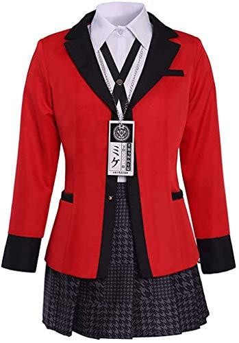 Xiao Maomi Sailor Dress Suit Outfit for Women Gambler Anime Jabami Yumeko Cosplay Costume Full Set (Large, Red)