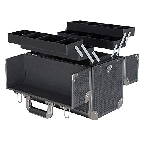 HMF 149080 Make-upkoffer, aluminium beauty case, verstelbare scheidingswanden, viskoffer, verschillende maten
