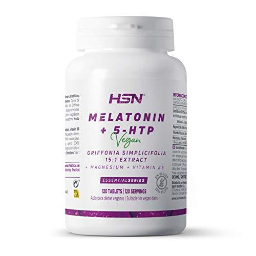 Melatonina Pura 1,9 mg con 5 htp + Magnesio + Vitamina B6 de HSN | Suplemento Para Dormir bien | Sueño de Calidad y Reparador | Vegano, Sin Gluten, Sin Lactosa, 120 Tabletas