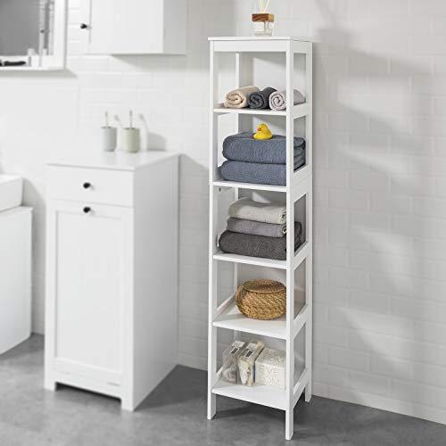 Haotian BZR14-W - Armario de almacenamiento de baño alto con estantes, armario de baño con torre de lino, armario con estante