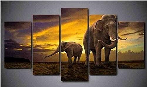 5 panel Leinwand Drucke, Elefant, moderne Drucke gestreckt Rahmen, geeignet für hängende home decor artwork 60'W x32'H)