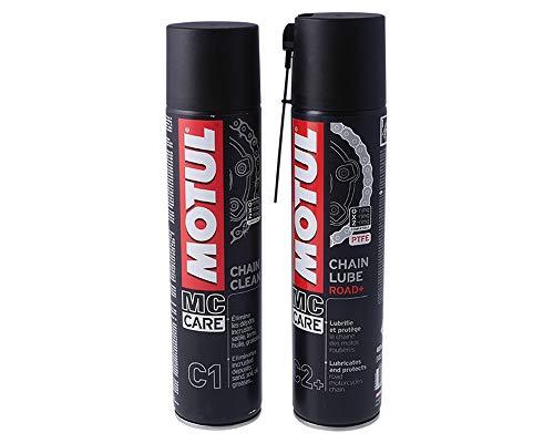 MOTUL C1 Chain Clean 400 ml, C2+ Chain Lube, kit de nettoyage pour chaîne compatible pour scooter, moto
